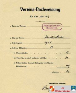 Vereinsnachweis aus 1914