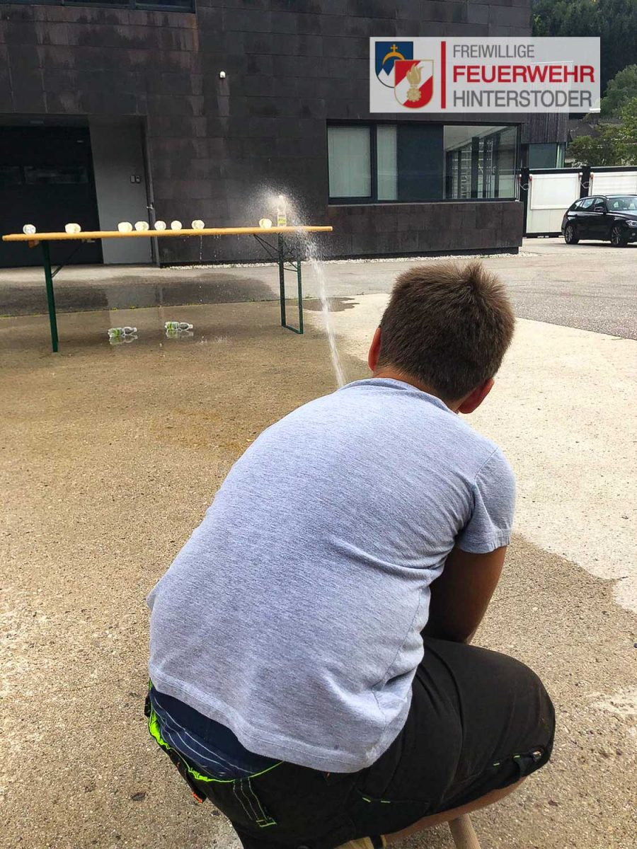 Übung der Feuerwehrjugend Hinterstoder - Zielspritzen